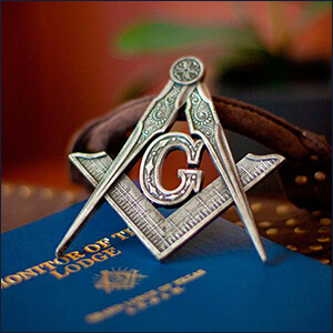 Square & Compass On Masonic Book